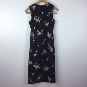 Zara Basic Black Floral Midi Dress